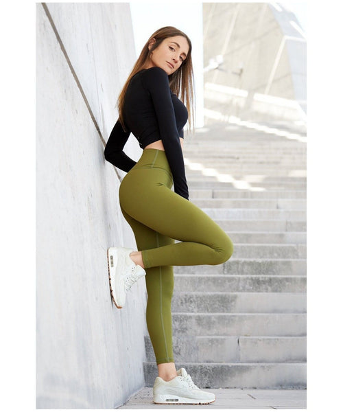 Famme Essential High Waisted Leggings Green-Famme-Gym Wear