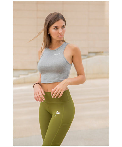Famme Techna High Waisted Leggings Green-Famme-Gym Wear