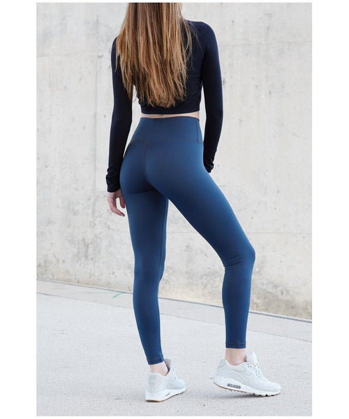 Famme Essential High Waisted Leggings Midnight Blue-Famme-Gym Wear