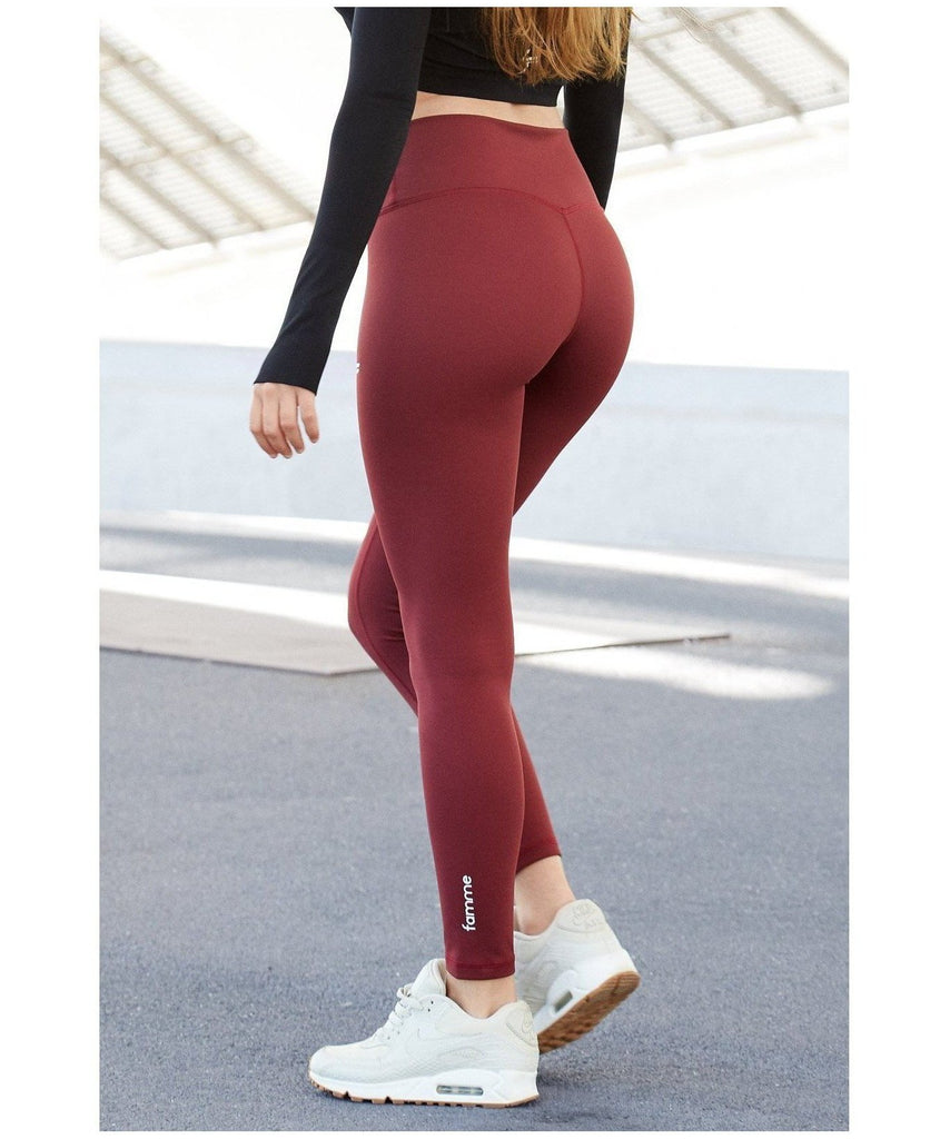 Famme Essential High Waisted Leggings Tawny Port-Famme-Gym Wear