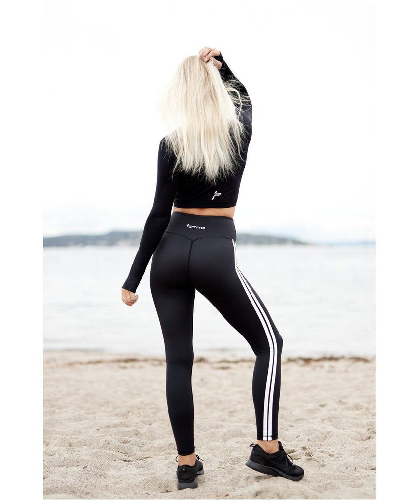Famme White Track Leggings Black-Famme-Gym Wear