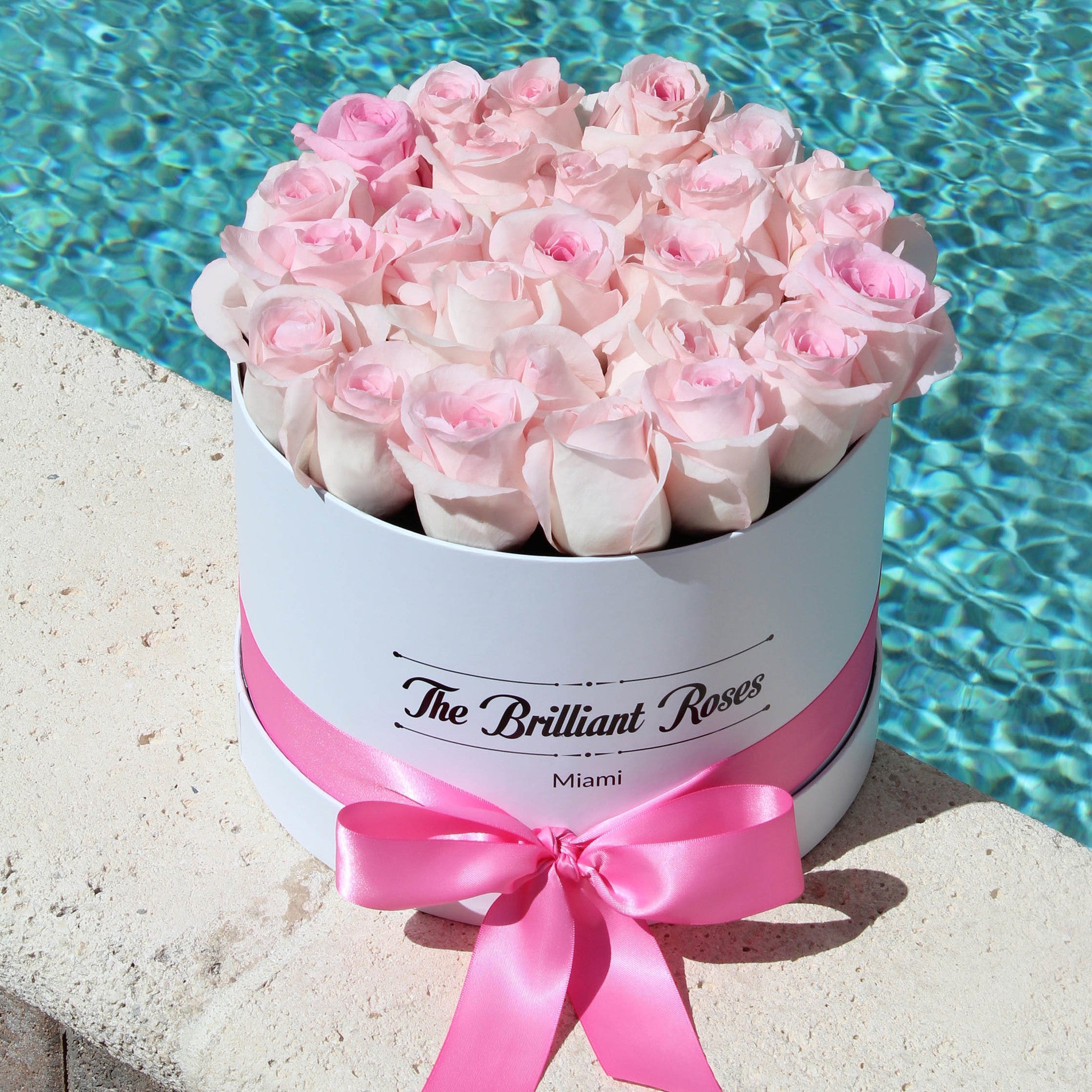 Pink roses in round flower box the brilliant roses pink roses in round flower box izmirmasajfo