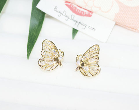 Level Up Butterfly Gold Plated Earrings - BusyDayShopping