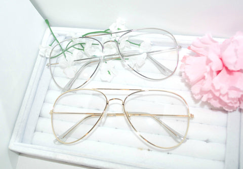 Clear Aviators Glasses - Silver - BusyDayShopping
