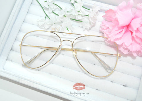 Clear Aviators Glasses - Gold - BusyDayShopping
