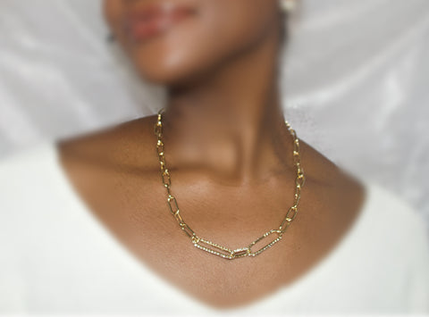 Luxe Paperclip Chain Gold Necklace - BusyDayShopping