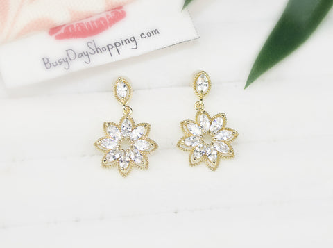Crystal Flower Gold Plated Earrings