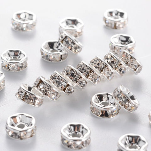 Brass Grade A Rhinestone Spacer Beads 7mm