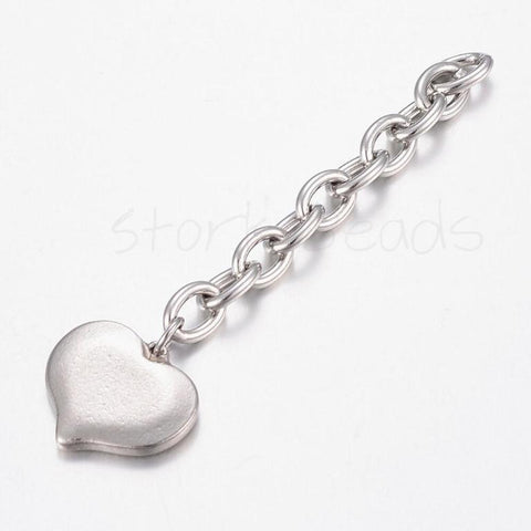 304 Stainless Steel Extender Chains, with Heart Charms
