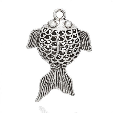 Tibetan Style Alloy Fish Hollow Pendants 53 mm