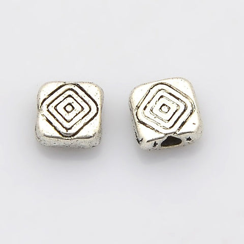 Square Plating Zinc Alloy Spacer Beads 6mm