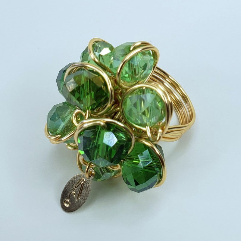 Felicity Ring - Green AB Glass Crystals