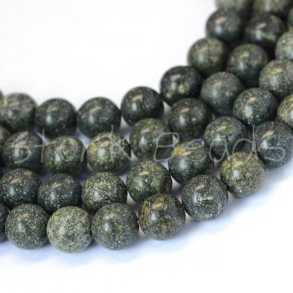 Green Lace Stone Round Bead Strands