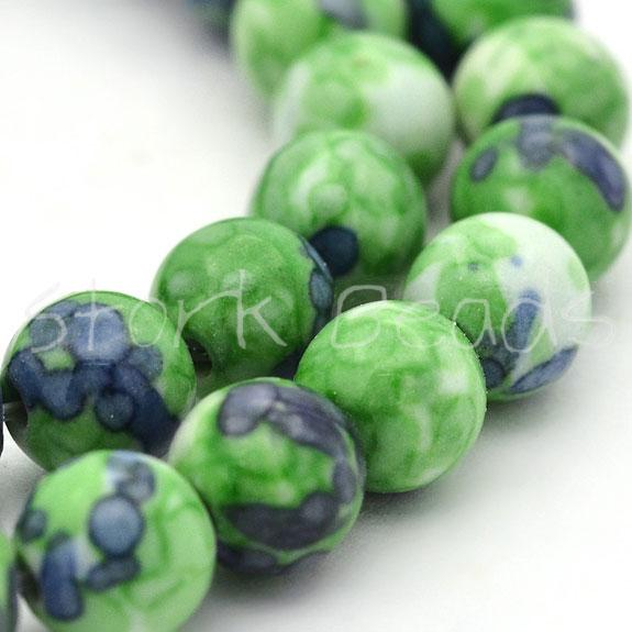 Synthetic Ocean White Jade Round Bead Strands