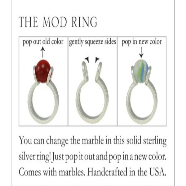 MOD RING 10mm ITTY BITTY  GAYM  - SOLID STERLING SILVER or SOLID STERLING SILVER - VERMEIL PLATED IN 14K GOLD