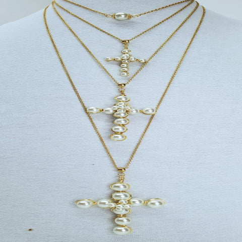 Genesis Cross Collection - Glass Pearls Chain