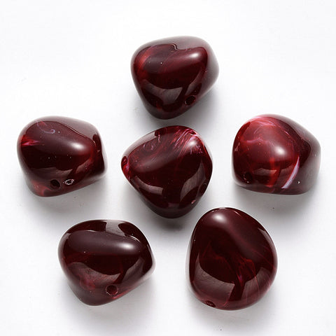 Acrylic Beads (Nuggets, Red) 24 mm