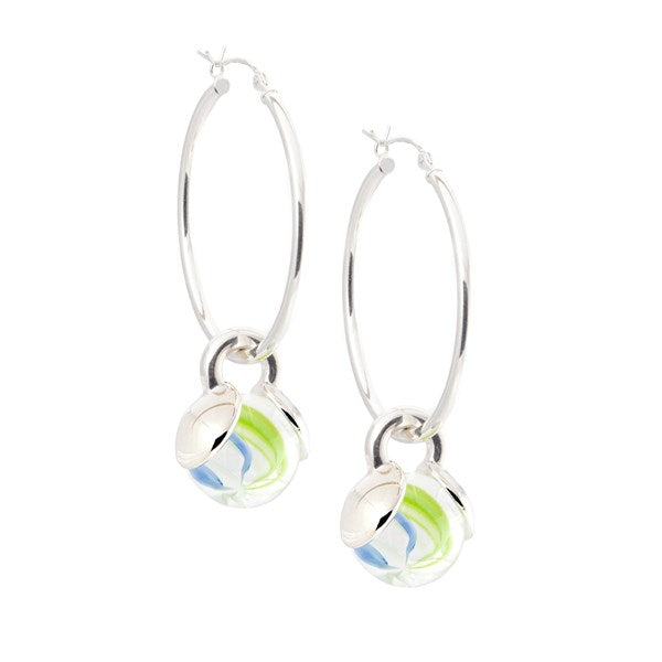 MARBLEPOP HOOP GAYM EARRINGS - SILVER PLATED