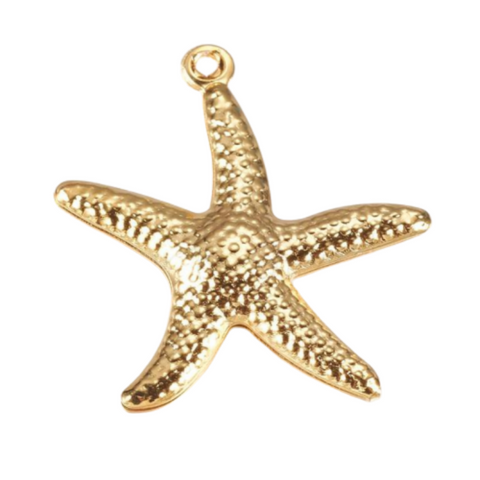 304 Stainless Steel Pendant Charm, Starfish, Gold