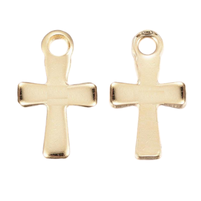 304 Stainless Steel Cross Charm - Gold