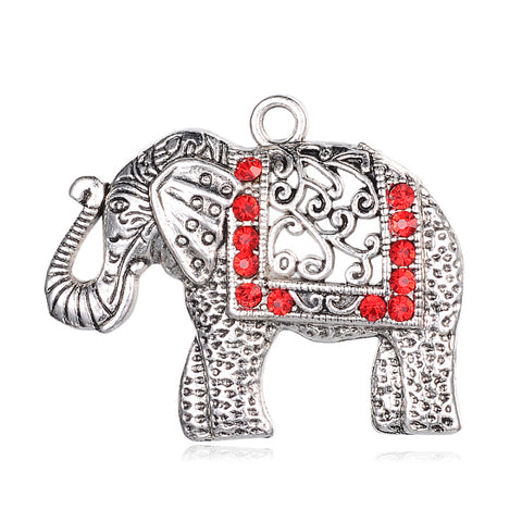 Alloy Rhinestone Big Pendant  Elephant 51 mm