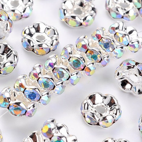 Rhinestone Spacer Beads 8mm