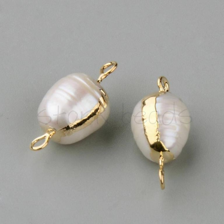 Plated Natural Pearl Link Beads
