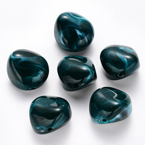Gemstone Acrylic Beads (Nuggets, DarkCyan) 24 mm