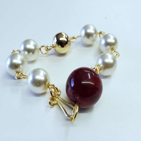 Pearl Red Acrylic Bracelet