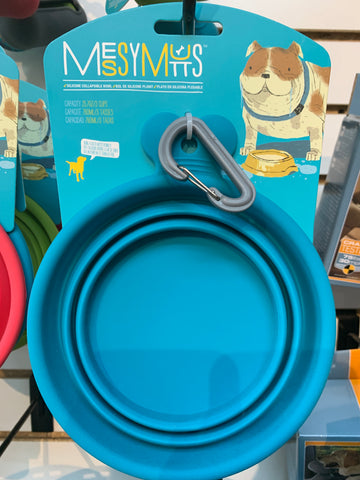 Messy Mutts Collapsible Bowl 3 Cups (Blue)