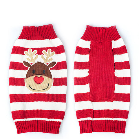 Dog Xmas Reindeer Sweater Knitted - Pets Club