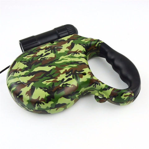 5M Retractable Camouflage Style Dog Leash with LED - Pets Club