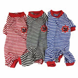 Dogs& Cats Striped Cotton Jumpsuit - Pets Club