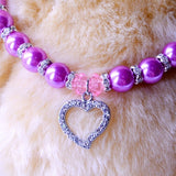 Rhinestone Crown Heart Necklace for small Dogs and Cats - Pets Club