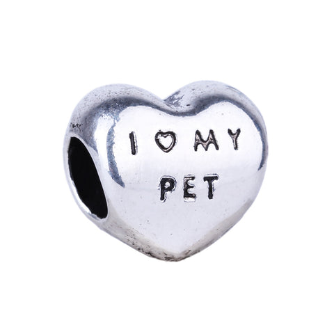 """ I Love My PET"" Silver Heart Charm Bead - Pets Club"