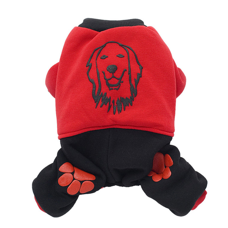 Winter Dog & Cat Warm Red Hoodie - Pets Club