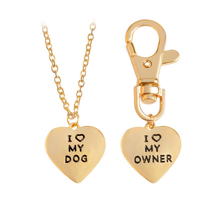"2pcs/set ""I love my dog,I love my owner"" Heart Charm Necklace And Collar Keychain - Pets Club"