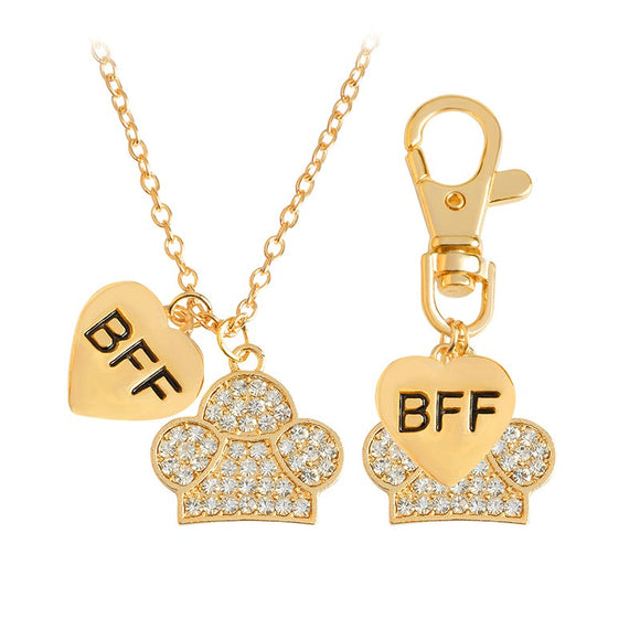 2pcs/set BFF Heart & Paw Charm Necklace And Collar Dog Keychain - Pets Club