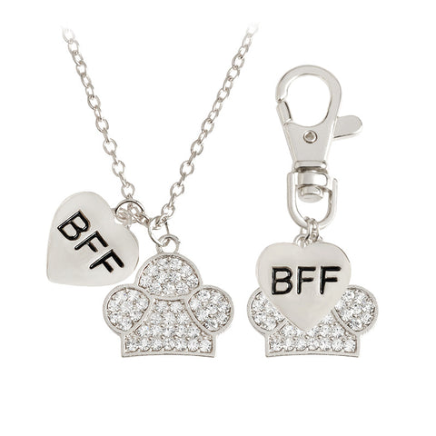 2pcs/set BFF Heart & Paw Charm Necklace And Collar Dog Keychain