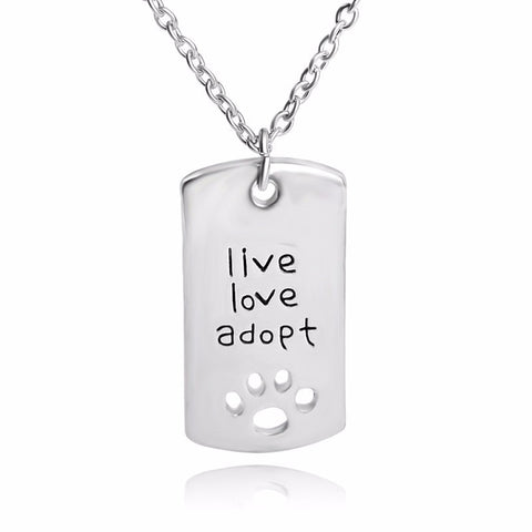 """live love adopt"" Pendant Silver Dog Tag Necklace Dog Lovers Jewelry - Pets Club"