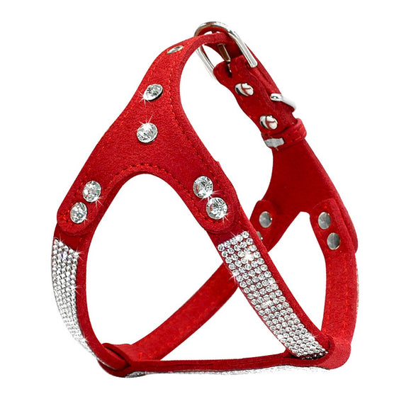 Suede Leather Dog Harness Vest with Rhinestone - Pets Club