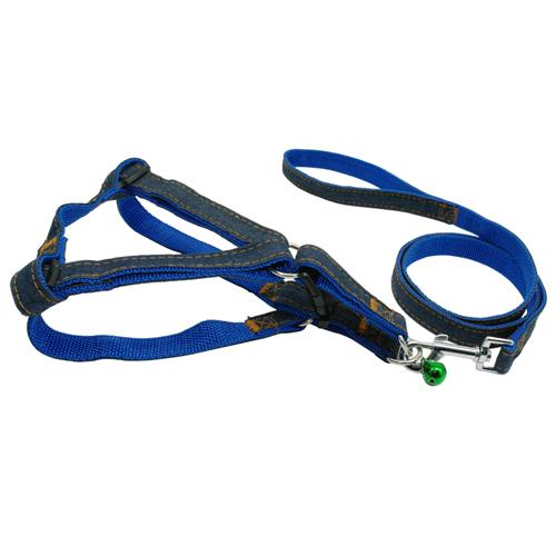 Adjustable No-Pull Denim Dog Harnesses and Leash - Pets Club
