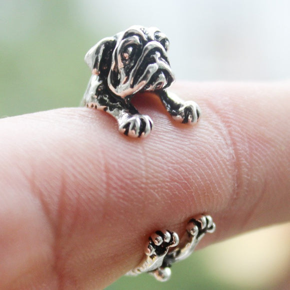 Antique style Pug Adjustable Ring - Pets Club