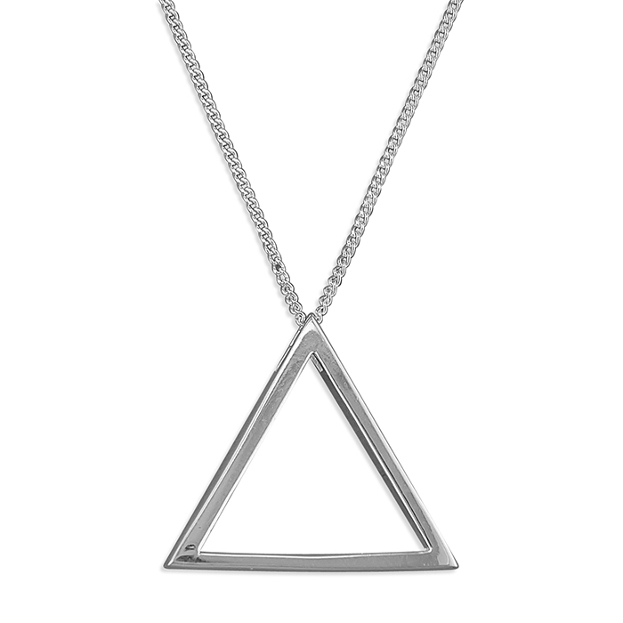Outline plain triangle necklace