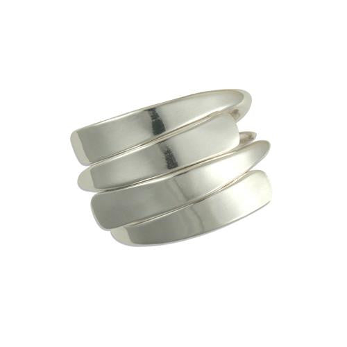Sterling Silver 4 Row  Plain Overlap Ring