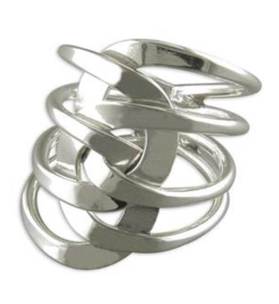 Sterling Silver Chic layered interlinked loop ring