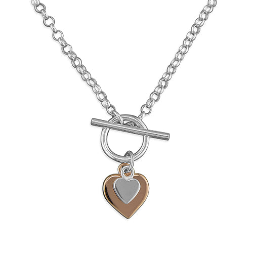 Sterling Silver two mini hearts and T-bar Necklace