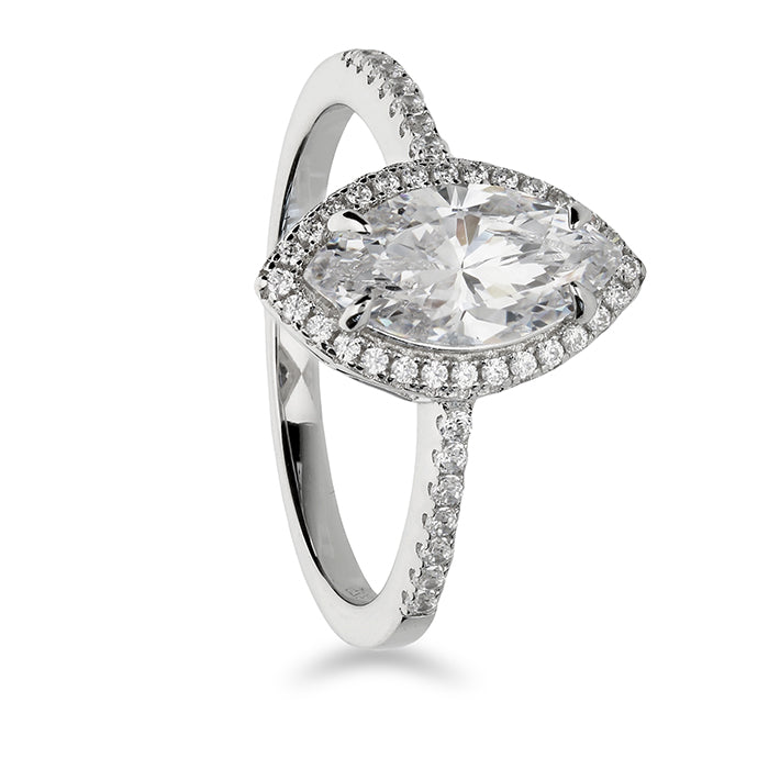 Cubic zirconia marquis halo with cubic zirconia shoulder ring