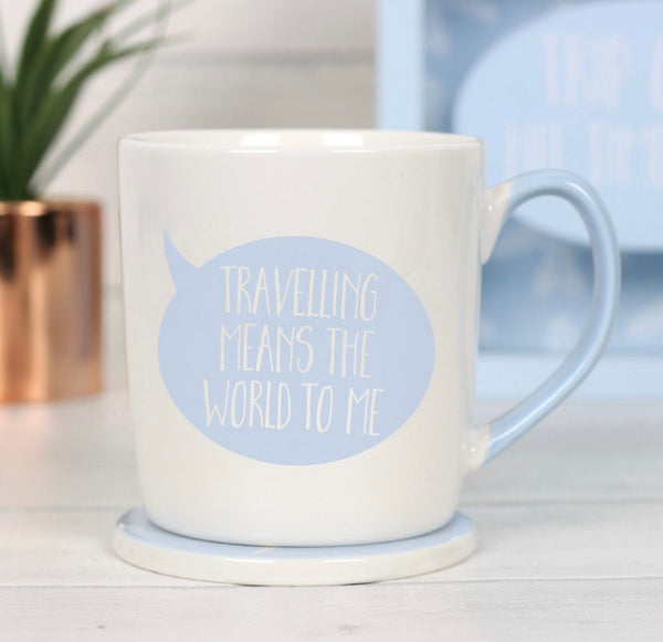 Travelling Means The World To Me Mug & Coaster