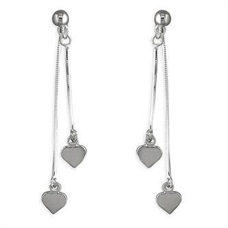 Double Hearts-on-Chains Drop Earrings